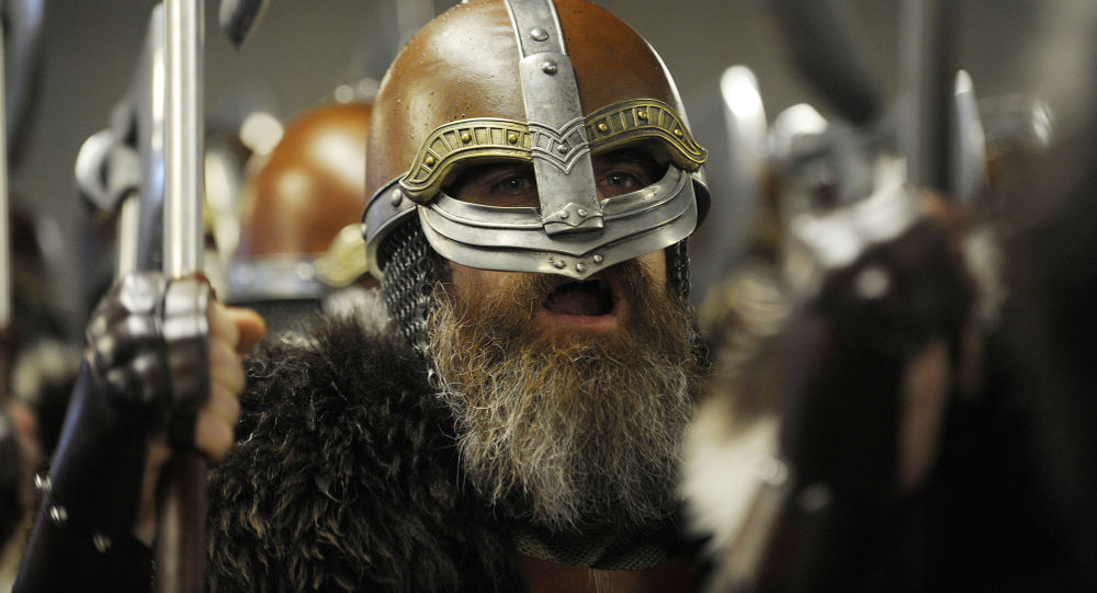 Participants dressed as Vikings wait to start the annual Up Helly Aa festival in Lerwick, Shetland Islands, on January 31, 2017