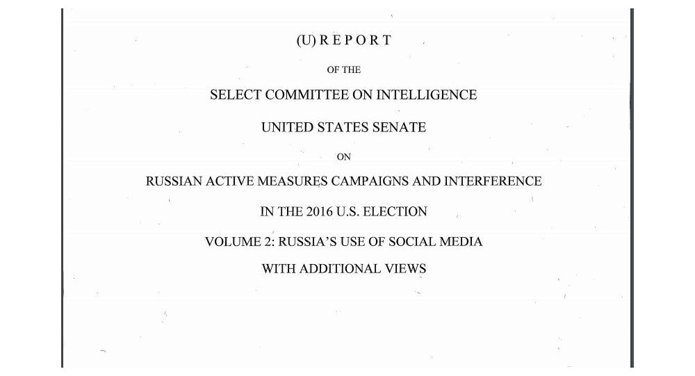 Senate Intelligence Committee Report on Alleged Russian Meddling in 2016 Elections