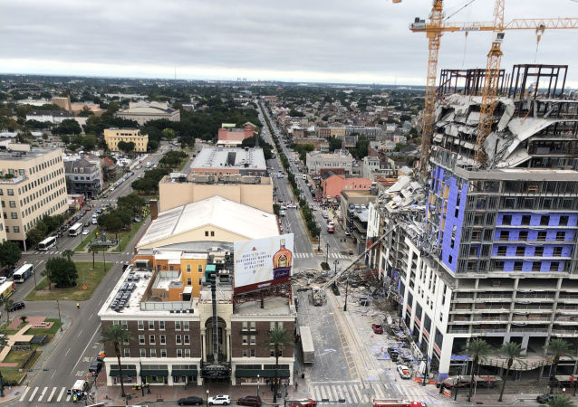 Damage is seen after a portion of a Hard Rock Hotel under construction collapsed in New Orleans, Louisiana, U.S. October 12, 2019, in this image taken from social media. Michael Hollister via REUTERS