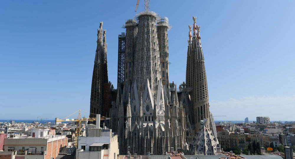 This picture shows the current situation of the works in the Sagrada Familia (Holy Family) basilica, designed by Spanish architect Antoni Gaudi, in Barcelona, on September 19, 2019.