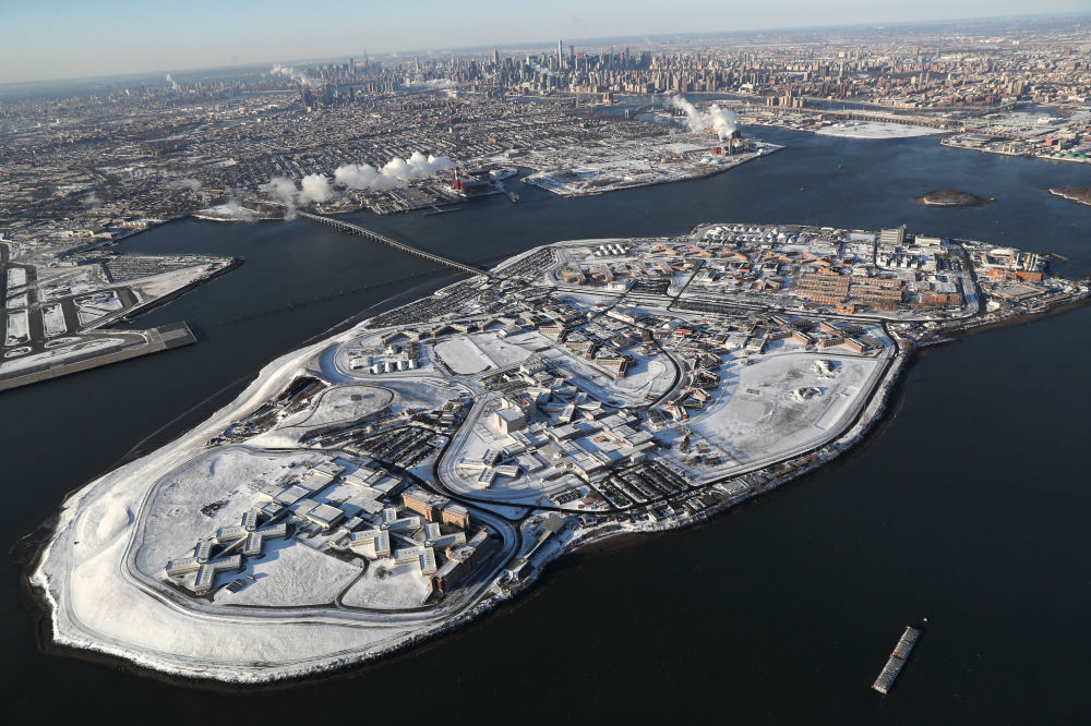 Rikers Island jail complex stands under a blanket of snow on January 5, 2018 in the Bronx borough of New York City.