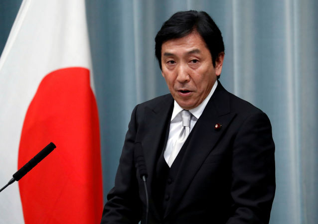Japan's Economy, Trade and Industry Minister Isshu Sugawara attends a news conference at Prime Minister Shinzo Abe's official residence in Tokyo, Japan September 11, 2019