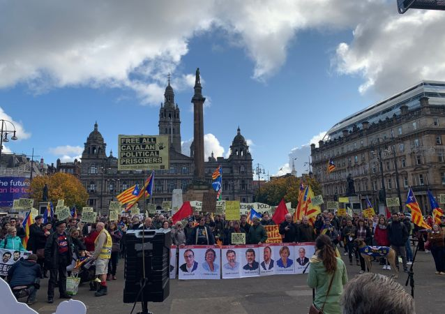 Demonstation in support of Catalonia in Glasgow, Scotland