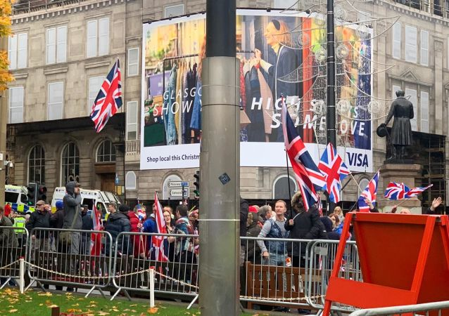 Unionist counter protestors at Indyref2020 demonstration in Glasgow