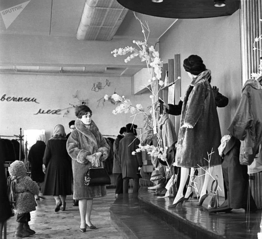 At Synthetics store in Moscow (1965)