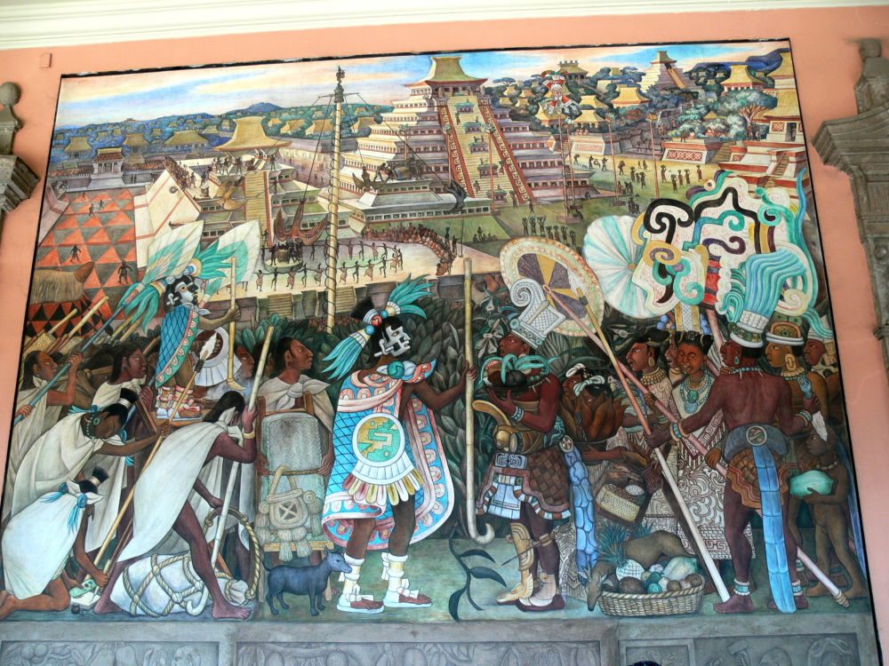 Mexico City. Palacio Nacional. Mural by Diego Rivera showing the life in Aztec times e.g. religious life in Tenochtitlan.
