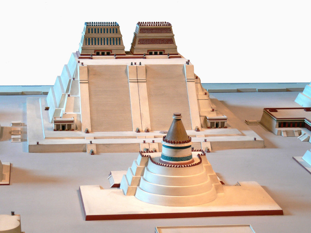 National Museum of Anthropology in Mexico City. Reconstruction of the Templo Mayor of Tenochtitlan.