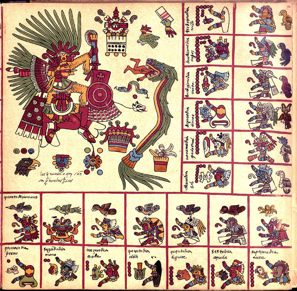 Page 12 of the Codex Borbonicus, (in the big square): Tezcatlipoca (night and fate) and Quetzalcoatl (feathered serpent); before 1500; bast fiber paper; height: 38 cm, length of the full manuscript.