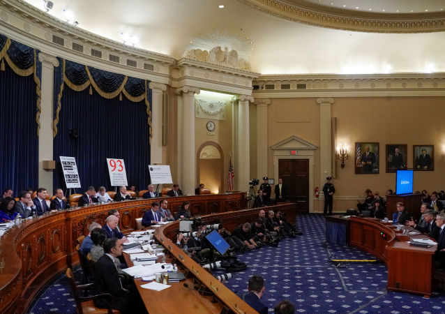Ambassador Bill Taylor, charge d'affaires at the U.S. embassy in Ukraine; and George Kent, deputy assistant secretary of state for European and Eurasian Affairs, testify before a House Intelligence Committee hearing as part of the impeachment inquiry into U.S. President Trump on Capitol Hill in Washington, U.S., November 13, 2019