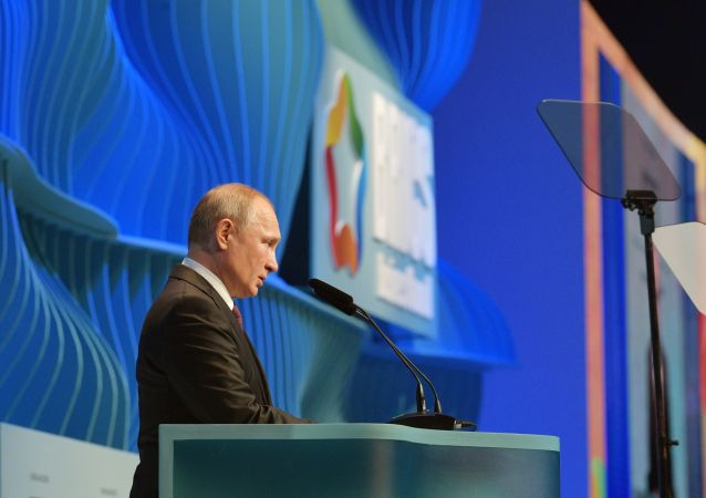 Russian President Vladimir Putin delivers a speech at the BRICS summit in Brasilia, Brazil November 13, 2019