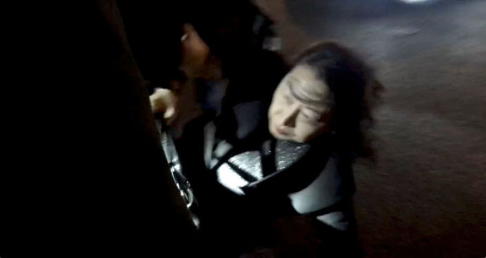 Hong Kong Justice Secretary Teresa Cheng gets up after falling when protesters surrounded her in London, Britain November 14, 2019