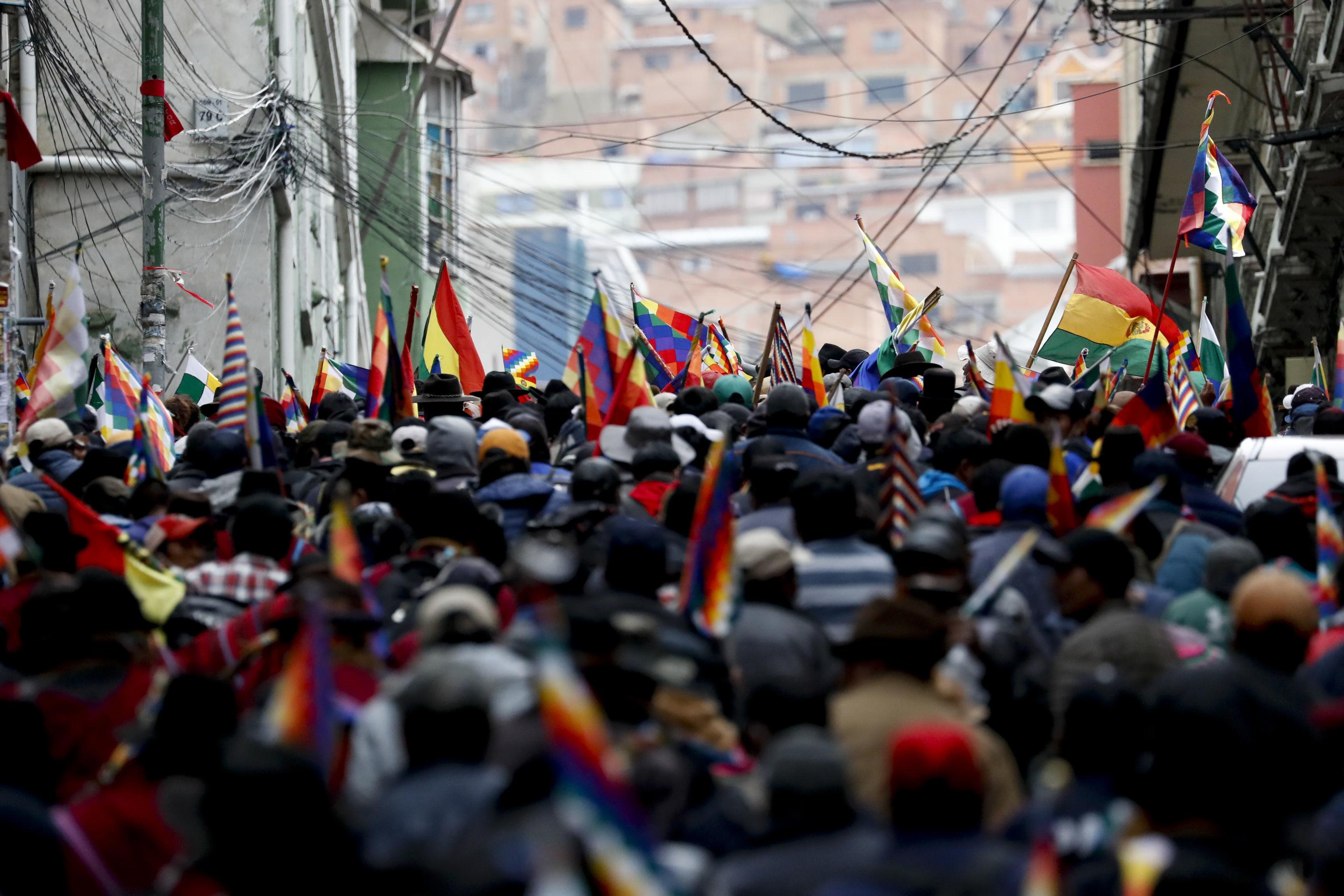 Supporters of former President Evo Morales in La Paz