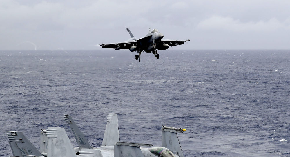A U.S. fighter jet on the U.S. aircraft carrier in South China Sea