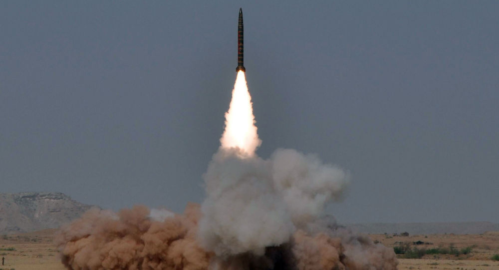 In this hand out picture released by the Inter Services Public Relations (ISPR) on May 8, 2010, a Hatf IV (Shaheen 1) medium-range nuclear-capable ballistic missile is launched from an undisclosed location in Pakistan
