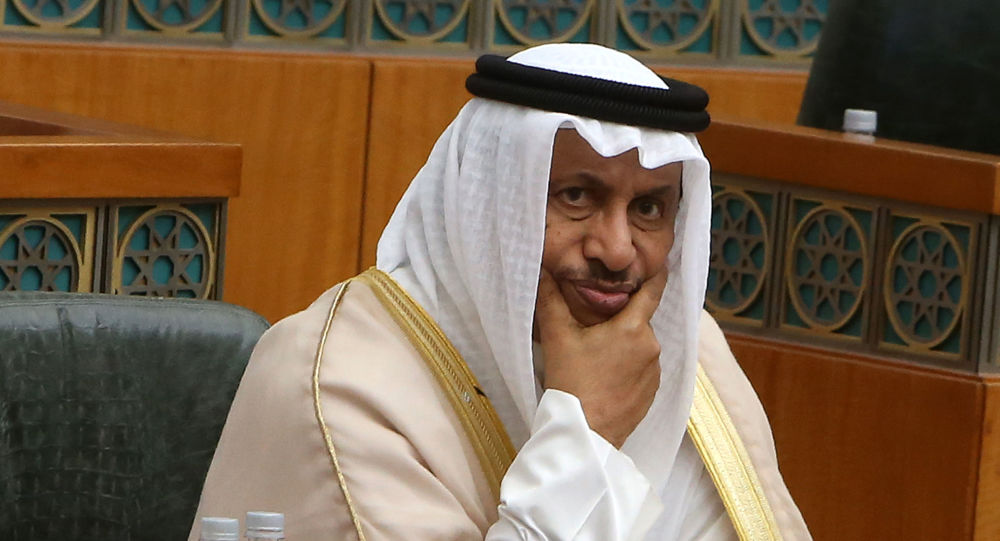 Kuwaiti Prime Minister Sheikh Jaber al-Mubarak al-Sabah (C) looks on, as he attends a parliament session at Kuwait's National Assembly, in Kuwait City on July 3, 2019.