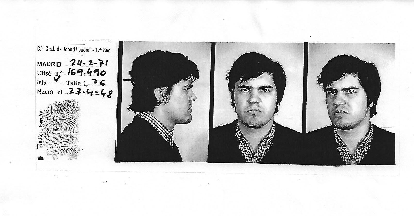 Police leaflet. A photo that was attached to Chato Galante's case.