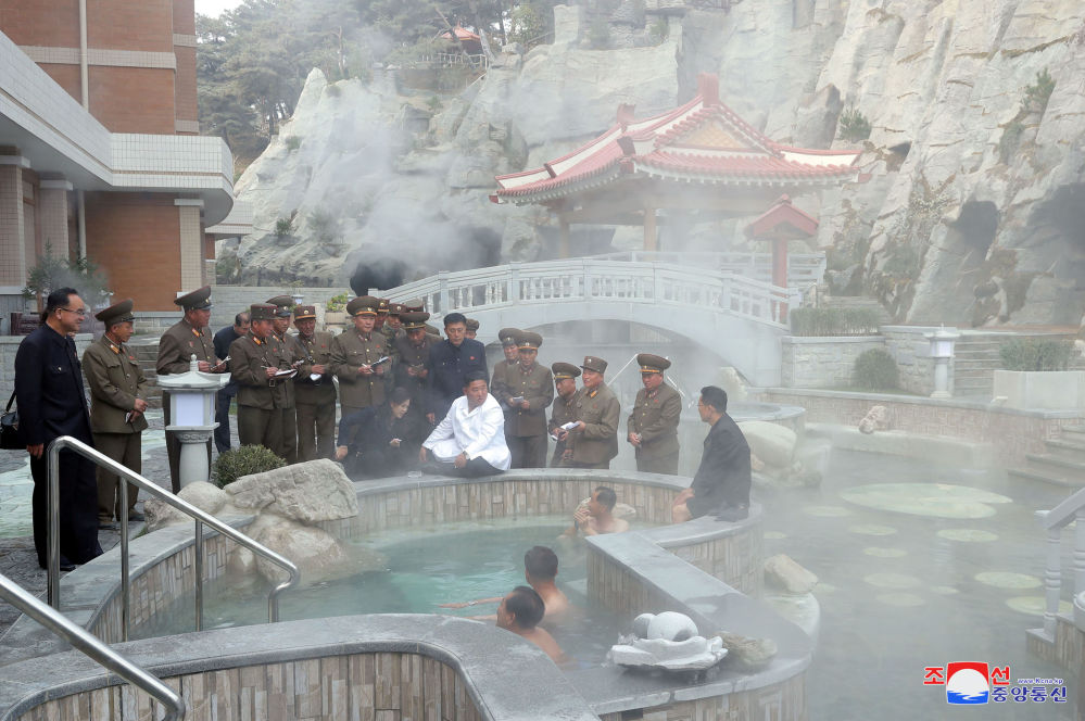North Korean leader Kim Jong Un and his wife Ri Sol Ju visit the Yangdok County Hot Spring Resort, North Korea, in this undated picture released by North Korea's Central News Agency (KCNA) on October 23, 2019.