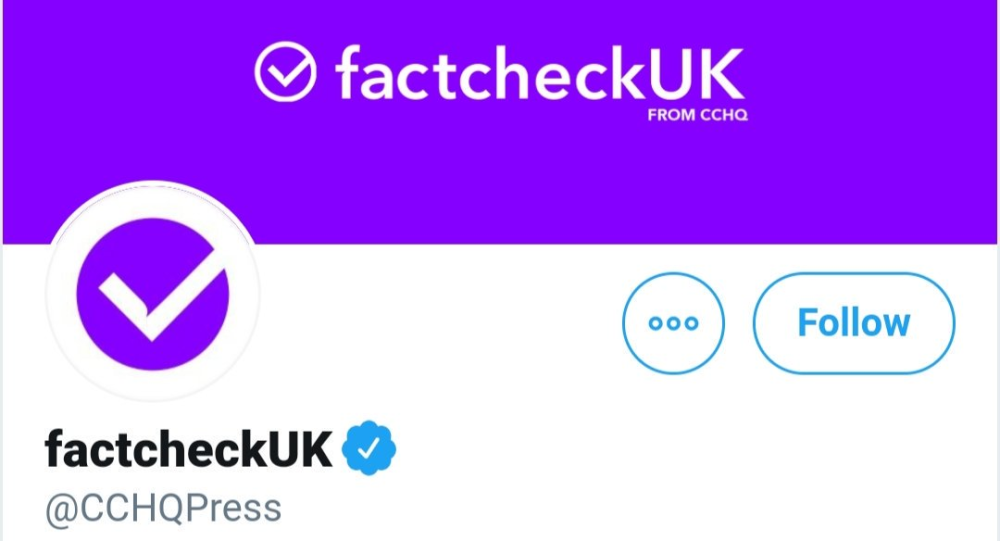 A screenshot of the Conservative Party press office's Twitter account, which was renamed to factcheckUK on Wednesday night