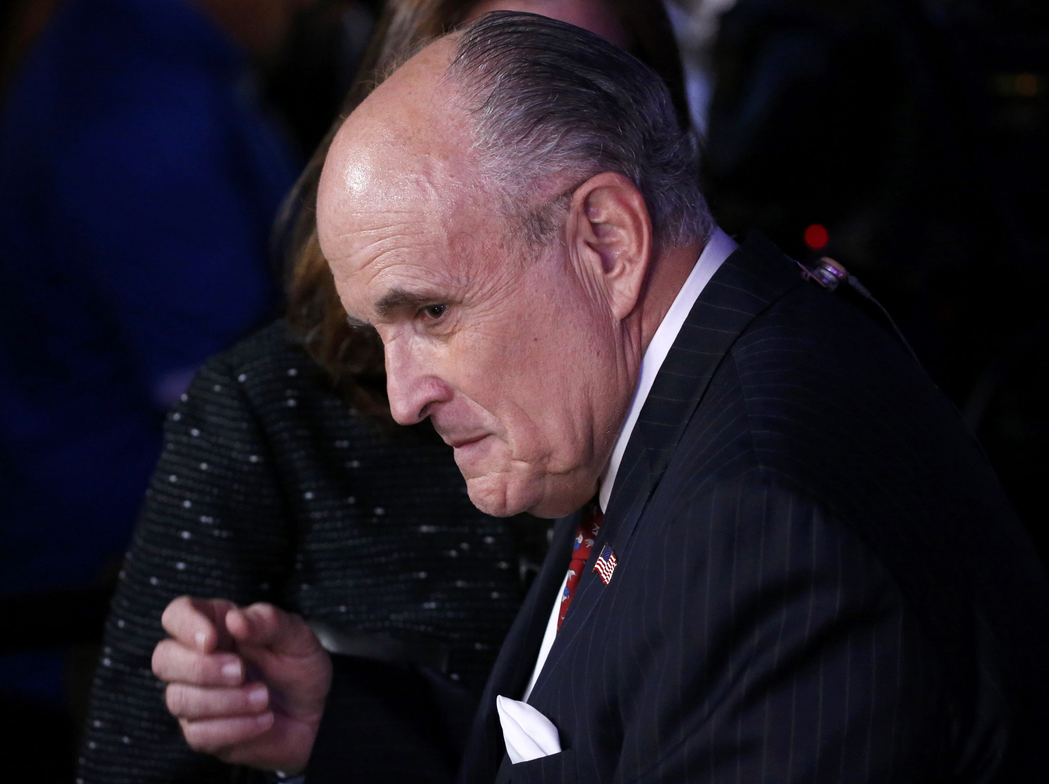 Former New York City Mayor Rudy Giuliani finishes a television interview at Republican U.S. presidential nominee Donald Trump's election night rally in Manhattan, New York, U.S., November 8, 2016