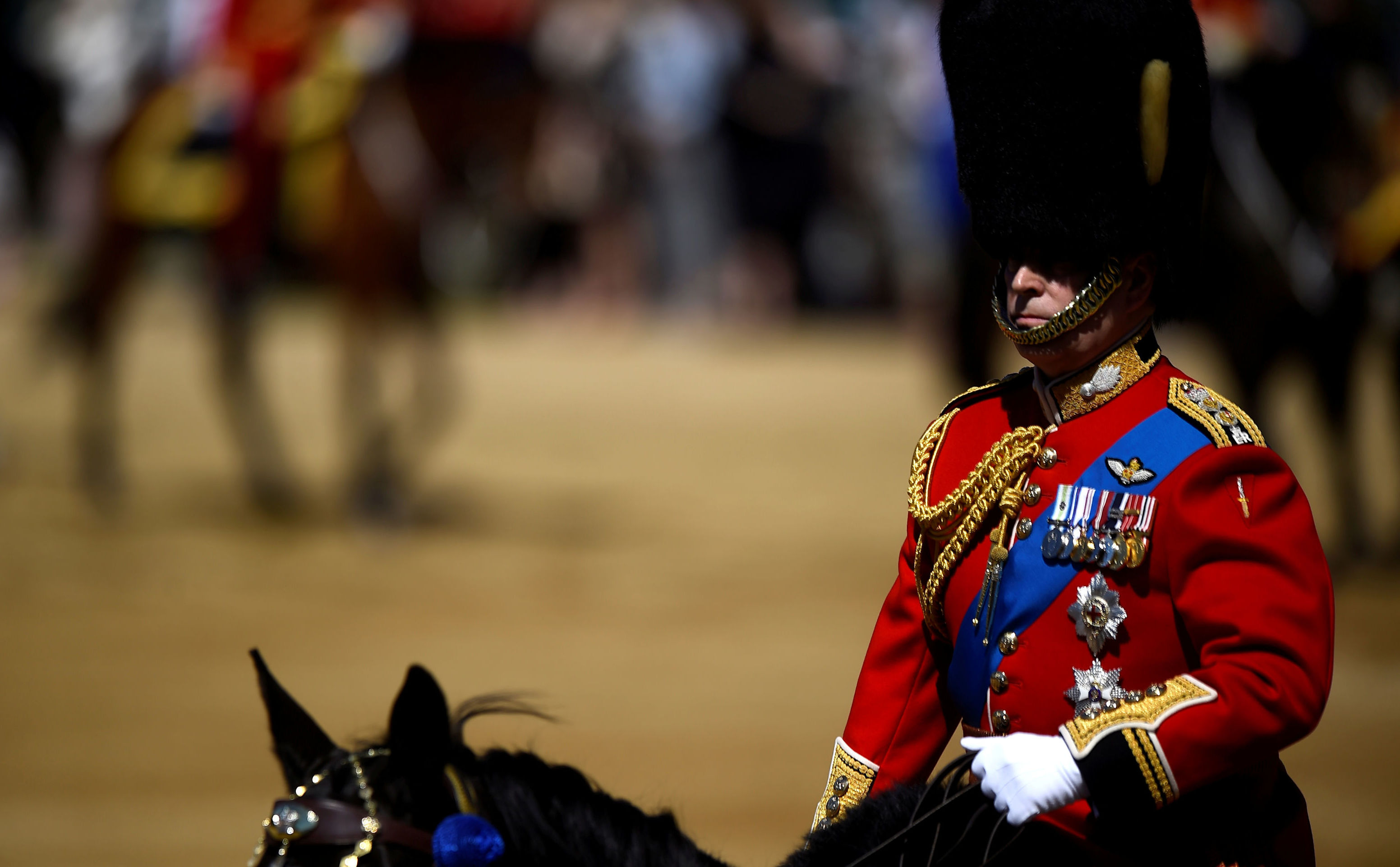 Britain's Prince Andrew, Duke of York, takes part in the Colonel's Review ahead of the Queen's birthday parade next week, on Horseguards Parade in London, Britain, June 1, 2019
