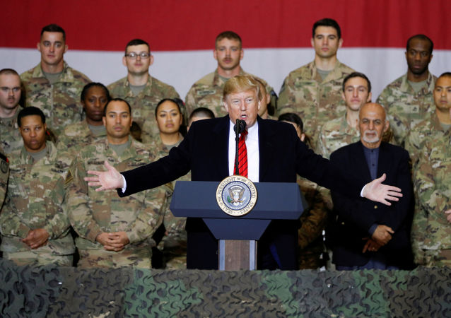 U.S. President Donald Trump during an unannounced visit to Bagram Air Base, Afghanistan