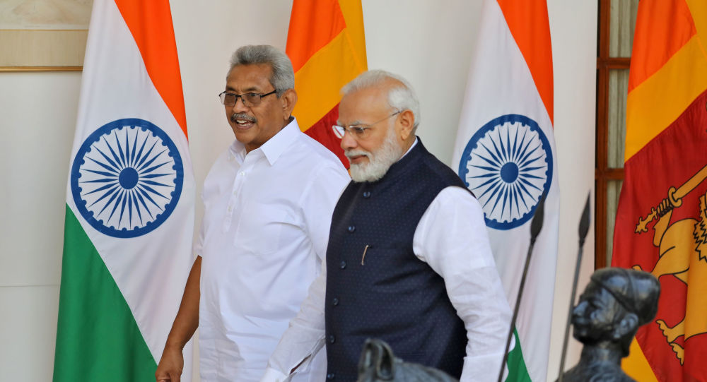 Sri Lanka's President Gotabaya Rajapaksa and India's Prime Minister Narendra Modi arrive for a photo opportunity ahead of their meeting at Hyderabad House in New Delhi, India, November 29, 2019