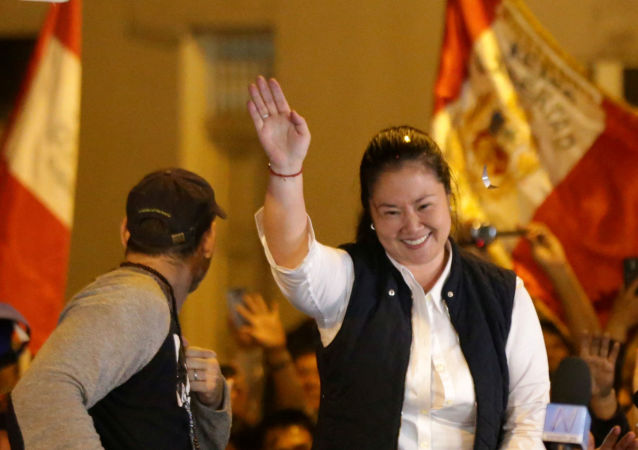 Peru's opposition leader Keiko Fujimori near the Santa Monica prison, in Lima