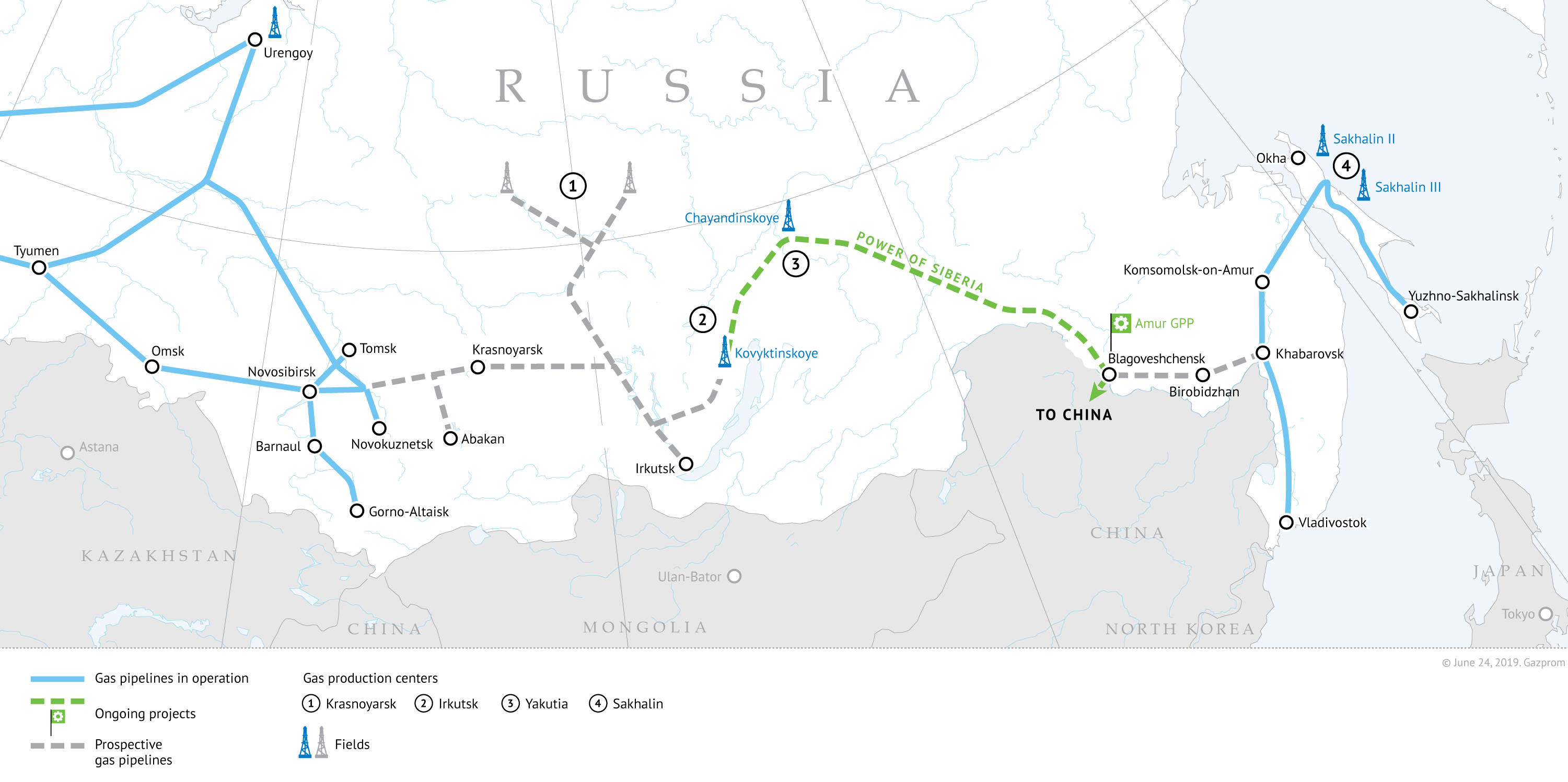 Developing gas resources and shaping gas transmission system in Eastern Russia. Green line - Power of Siberia on the map