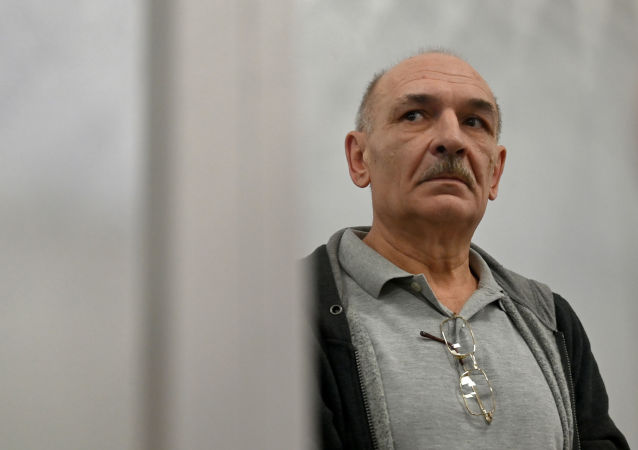 Vladimir Tsemakh, an Ukrainian man suspected of involvement in the downing of flight MH17, listens to the verdict of the court of appeal, during his hearing in Kiev on September 5, 2019.