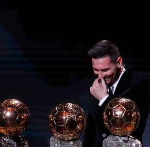 December 2, 2019  Barcelona's Lionel Messi with his Ballon d'Or trophies