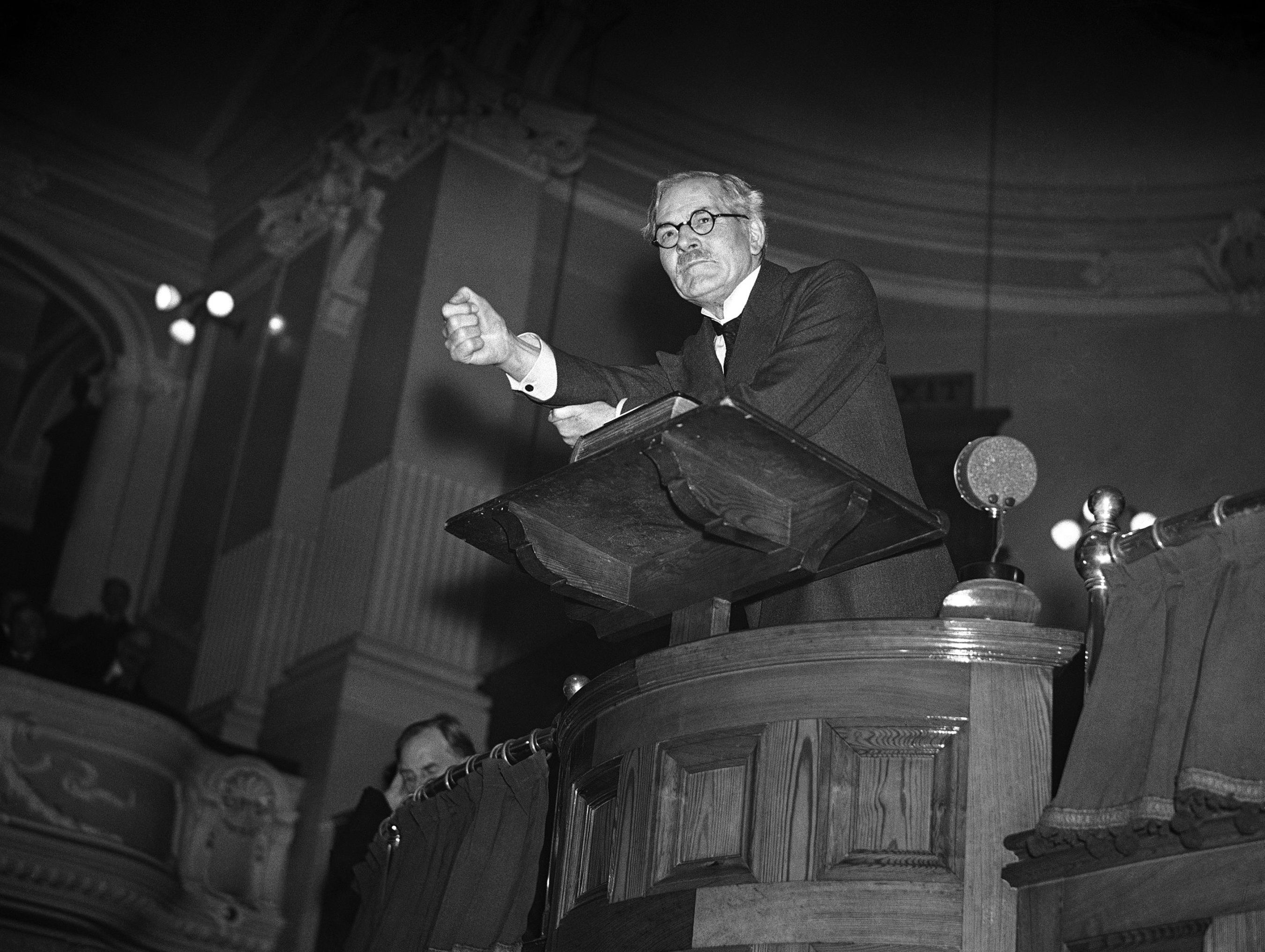 Britain's Lord President of the Council and Opposition Leader Ramsay MacDonald making a speech from the pulpit at a meeting of the East Ham brotherhood in the Central Hall, Barking Road, London, on Feb. 16, 1936