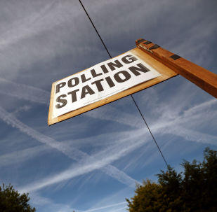 A polling station sign is pictured in Biggin Hill, Britain May 23, 2019