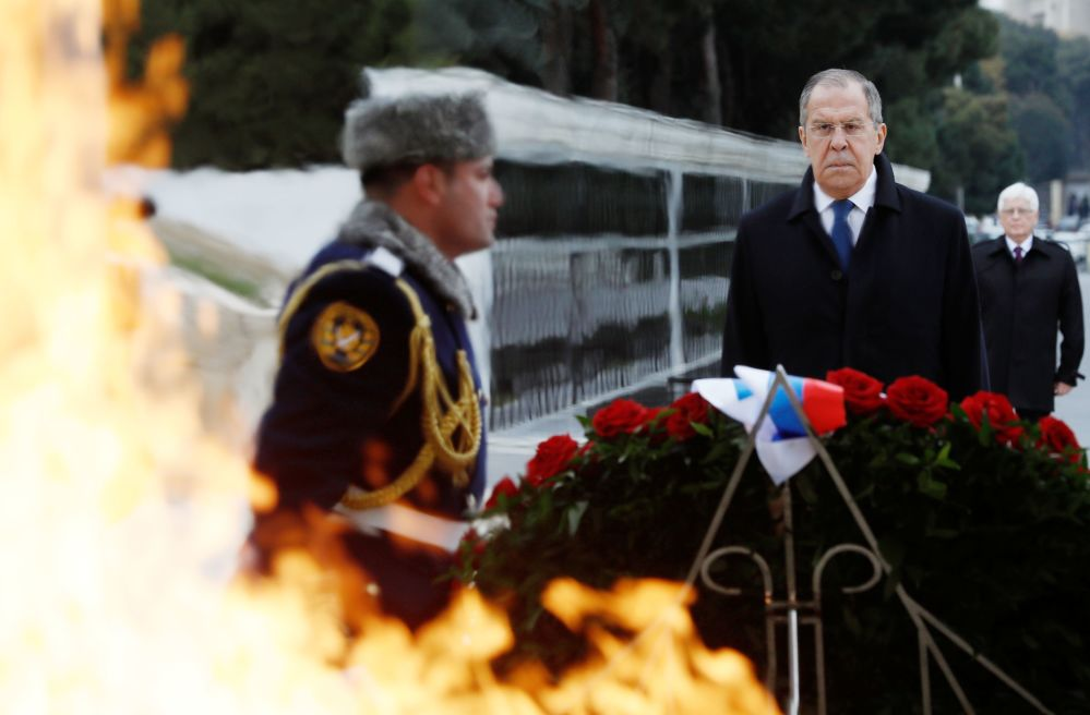 Russian Foreign Minister Sergei Lavrov during a wreath-laying ceremony at the Geidar Aliyev memorial in Baku.