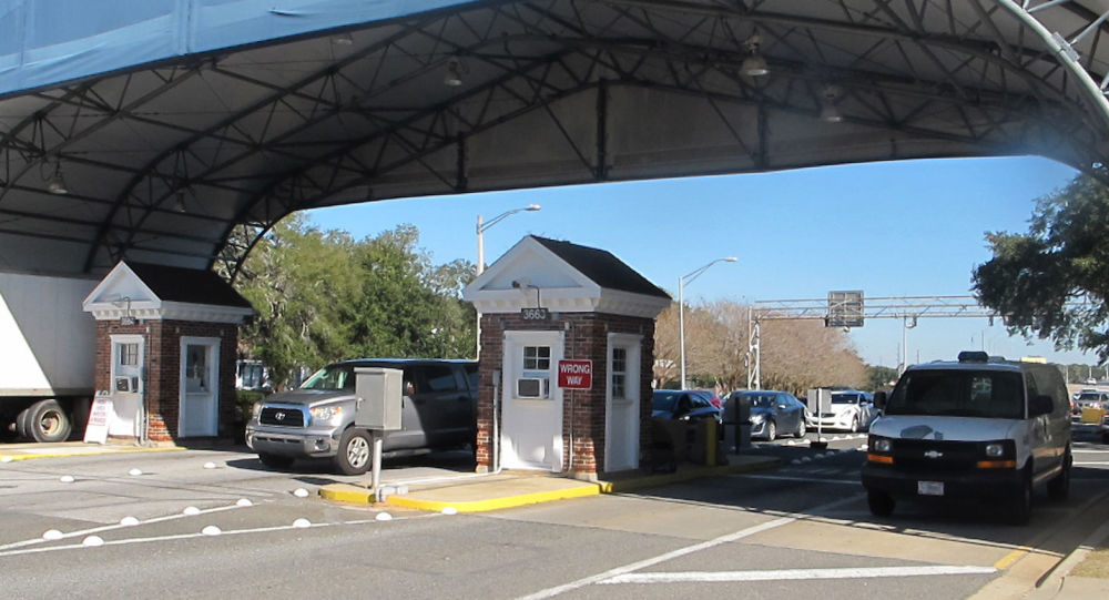 In this Jan. 29, 2016 photo shows the entrance to the Naval Air Base Station in Pensacola, Fla.
