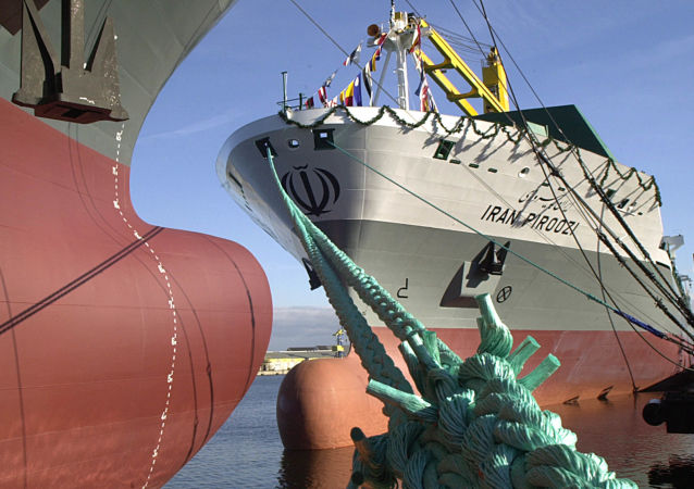 The 207 meters long container vessel IRAN PIROOZI anchors at the quay of Aker MTW Shipyard in Wismar, northern Germany, after the namegiving ceremony on Friday, Oct. 24, 2003