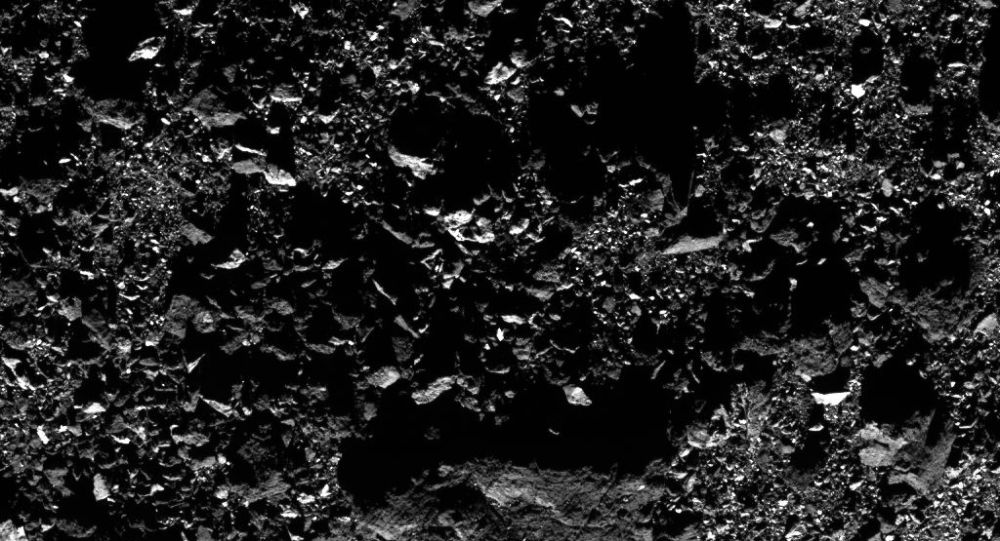 A close up of the asteroid Bennu