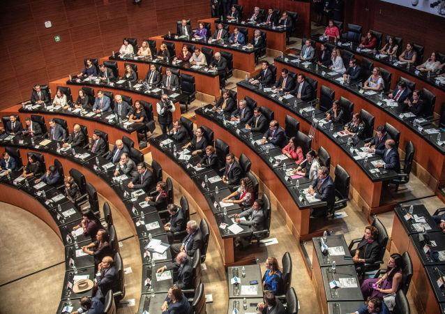 Mexican senators at the Senate in Mexico City