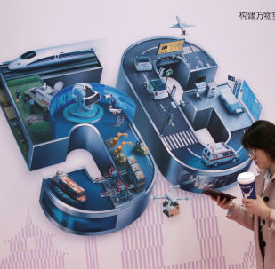 A sign for 5G is seen at the World 5G Exhibition in Beijing, China November 22, 2019