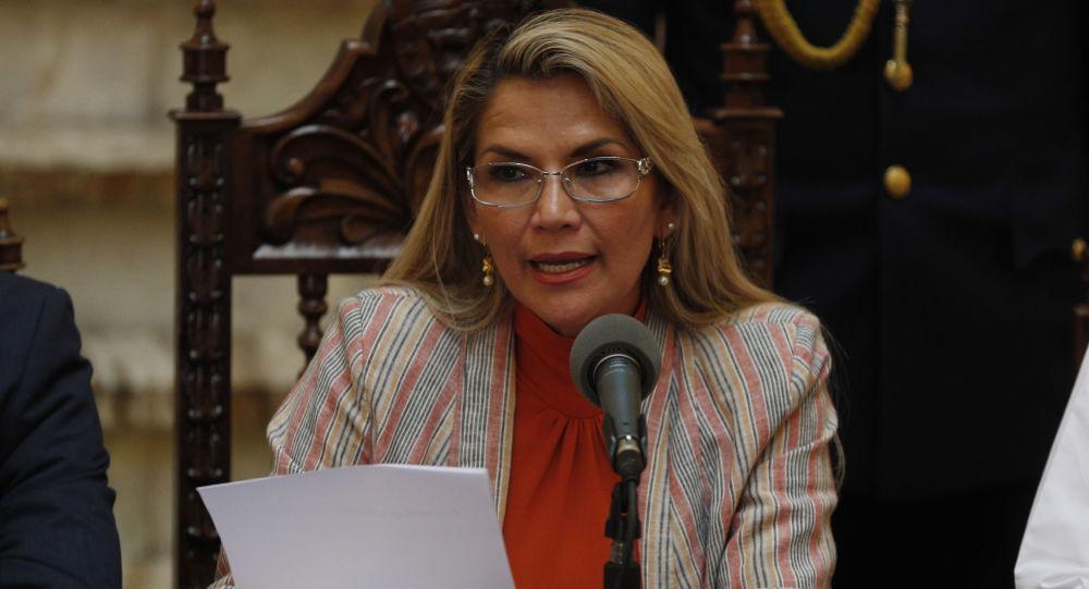 Bolivia's interim President Jeanine Anez  at the presidential palace, in La Paz, Bolivia