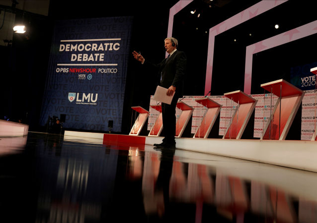 The stage is seen before the start of the 6th Democratic Presidential Debate at Loyola Marymount University in Los Angeles, California, 19 December 2019.
