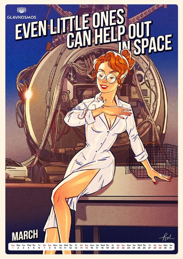 One of the pin-up beauties in 'Let's Go to Space' calendar