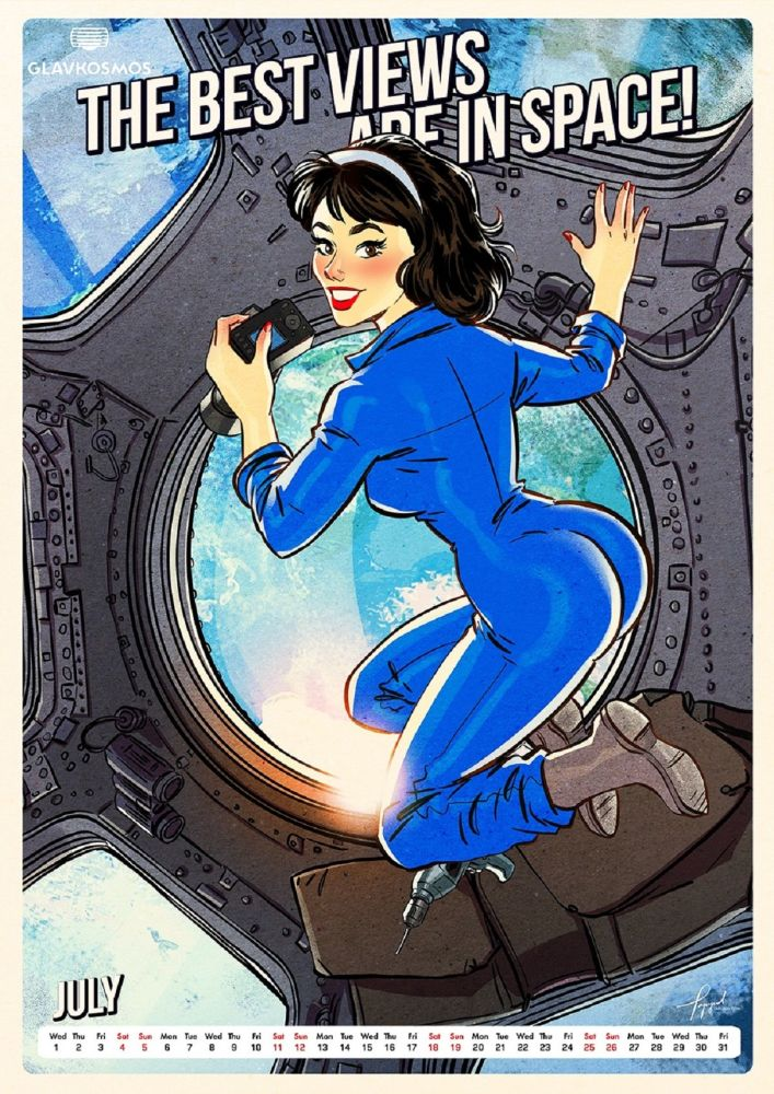 One of the twelve beauties in a pin-up calendar by Roscosmos