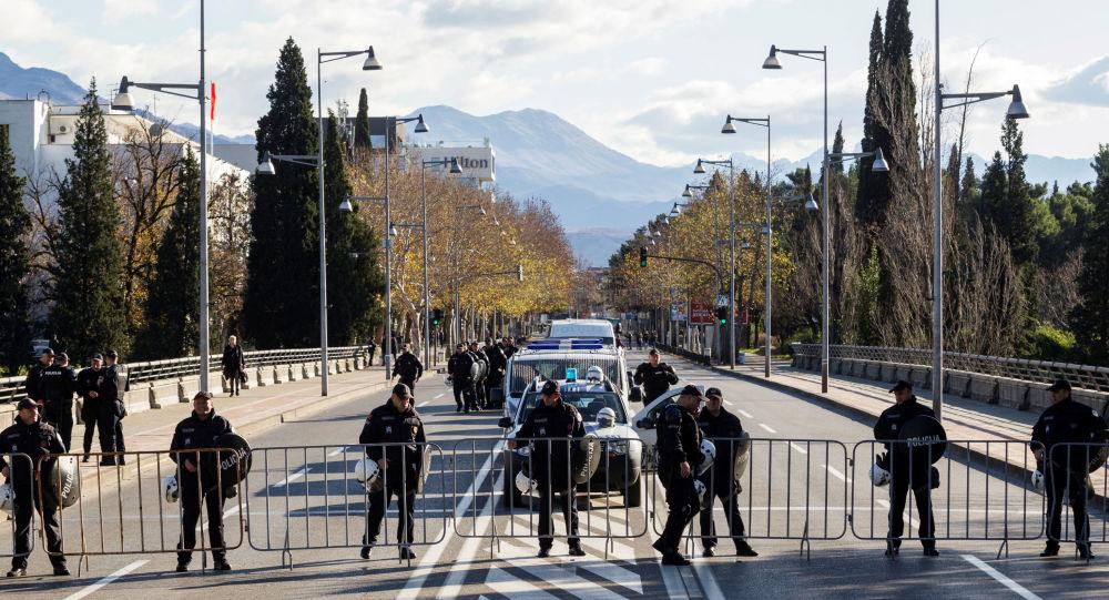 Police near the parliament in Podgorica, Montenegro