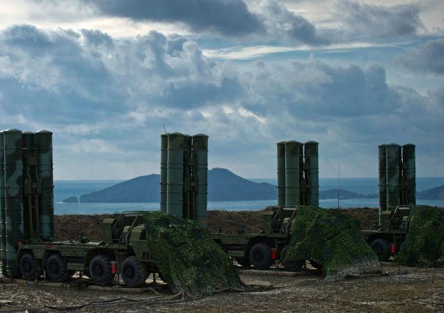The S-400 Triumph air defence regiment in Feodosia, Crimea, Russia.
