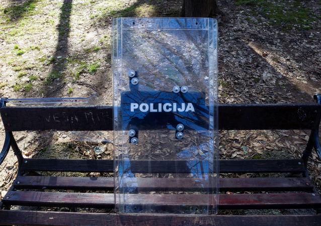 A police shield near the parliament in Podgorica, Montenegro