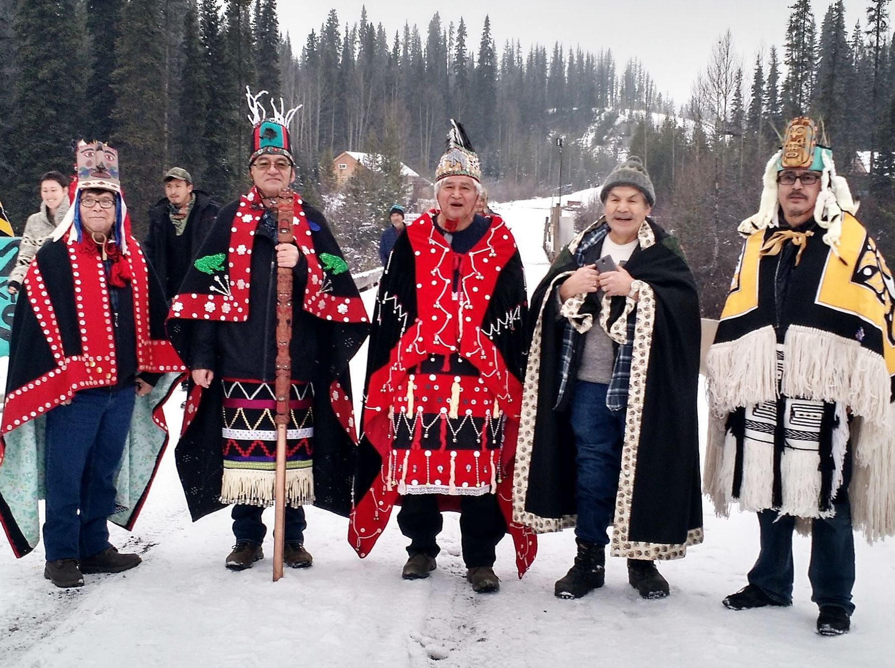 Dini Ze' (Highest Hereditary Chiefs) of the Wet'suwet'en Nation, including hereditary Chief Na'Moks (2nd left), visit Unist'ot'en Camp to show their support.