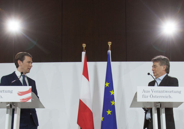 Head of the Austria People's Party (OevP) Sebastian Kurz (L) and Head of the Austrian Green Party Werner Kogler address a press conference to present the newly-formed coalition government's programme on January 2, 2020 in Vienna.