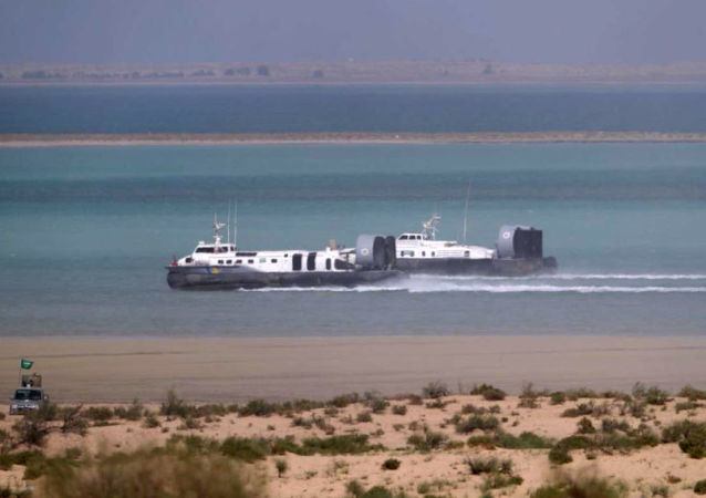 Amphibious hovercraft participating during the final day of the Gulf Shield 1 military drills in the eastern Saudi Arabian region of Dhahran