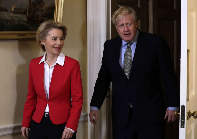 Britain's Prime Minister Boris Johnson with European Commission President Ursula von der Leyen inside 10 Downing Street