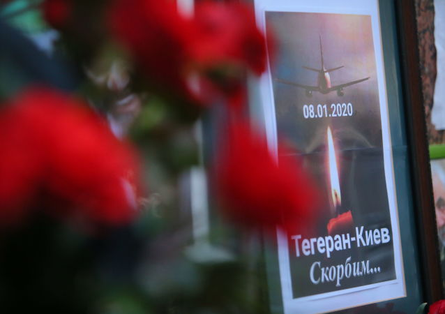 A memorial poster showing Ukrainian Boeing 737-800 plane that crashed outside Tehran, Iran, is seen outside the Iranian Embassy in Kyiv, Ukraine